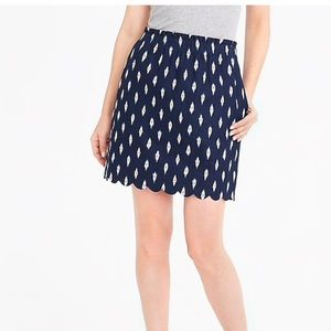 NWT J Crew Ikat Printed Scalloped Sidewalk Skirt